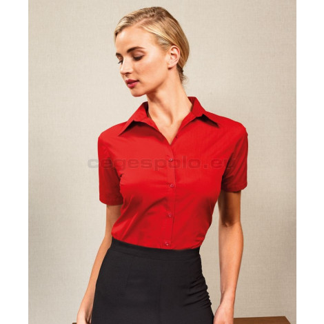 Premier | PR302 WOMEN'S SHORT SLEEVE POPLIN BLOUSE