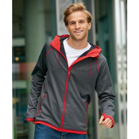 JAMES & NICHOLSON | Men's Hooded Fleece Jacket with Diamond Pattern Pulóver