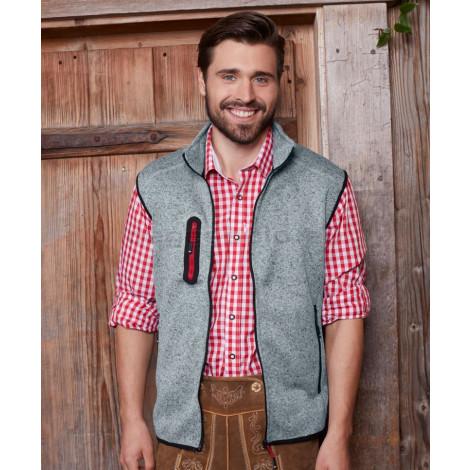 JAMES & NICHOLSON | Men's Knitted Fleece Mellény with Stand-Up Collar