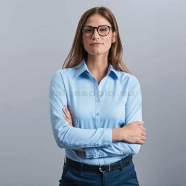 RUSSELL | Ladies' Tailored Herringbone Női Hosszú Ujjú Ing/Blúz