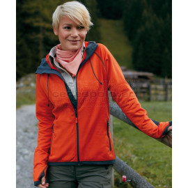 JAMES & NICHOLSON | Ladies' Hooded Fleece Jacket with Diamond Pattern Pulóver