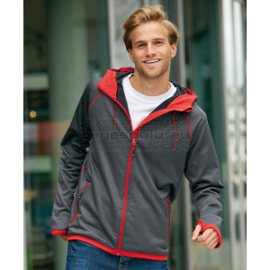 JAMES & NICHOLSON | Men's Hooded Fleece Jacket with Diamond Pattern Pulóver