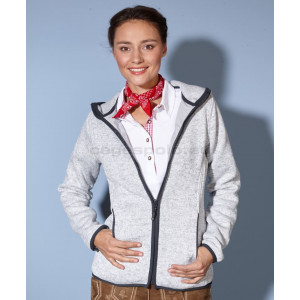 JAMES & NICHOLSON | Ladies' Knitted Fleece Hooded Jacket Pulóver